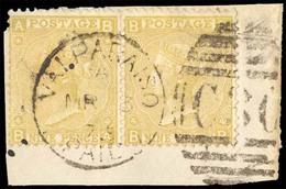 CHILE. C-30. Valparaíso. Paid Cds. BPO. GB 9d Straw. Horizontal Pair On Piece, Plate 4. F.U. Exhibition Item. Cat. Value - Chile