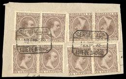 E-ALFONSO XIII. 1898. 219 (8). Madrid. Fragmento CERTIFICADO De 4 Parejas Formando Bloque De 8. - España