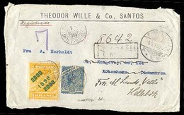 BRAZIL. C. 1898. S. Paulo To Denmark. Registered Front With Scarce Franking. Stamps On Cover. 2000rs Yellow Is Very Rare - Unclassified