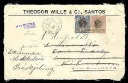 BRAZIL. C. 1895. Santos To Denmark. Registered Front With Huge Franking. Scarce. 1200 Rate. - Unclassified