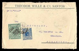 BRAZIL. C. 1898. Santos To Denmark. Front Registered. Scarce Stamps On Cover. SC 133, 170. - Unclassified