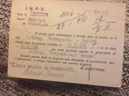 1952 Cartolina Inps Da Caserta A Aversa Italia Al Lavoro 15 Lire - 6. 1946-.. Repubblica