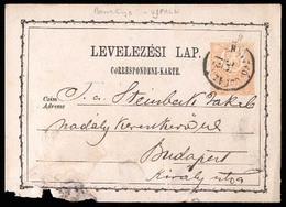 HUNGARY. 1870. Bemtyo - Ujfaln / Budapest. 2kr Stat Card. Very Early Usage. - Hongrie