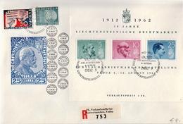 Postal History Cover: Liechtenstein Used Registered FDC - Tennis