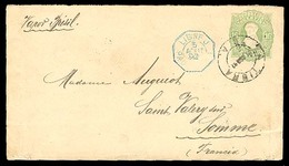 ARGENTINA. 1892. LA TIGRA / BUENOS AIRES To  FRANCE     16c. Green   Stat.env+blue Octogonal French Pqbt. - Argentina