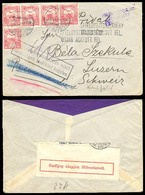 HUNGARY. 1915. Budapest / Switzerland. Registered Multifrkd Env + Censored. - Hongrie