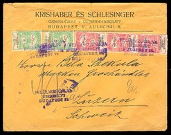HUNGARY. 1915. Budapest / Switzerland. Ovptd Multifrkd Env. - Hongrie