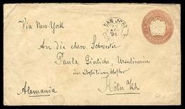 COSTA RICA. 1894. S. Jose / Germany. 10c Stat Envelope. Early Usage. Via NY. Fine. - Costa Rica
