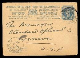 BC - Pakistan. 1900. (3 May) .Anarkali/Lahore To Geneva/USA. India.  1a. Stat Card. - Non Classificati
