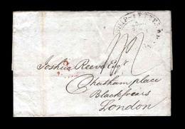 "USA. 1808.  (6 Jun). Philadelphia /UK.(25 Jun).  E.ovd Ship Letter On Front+""1sh,9"",  Mns .War Times In Europe. - United States"