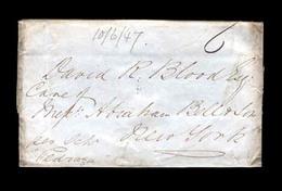 "BC - Bahamas. 1847. (10 Jun). Nassau / USA-NY. C/o.A.Bell  (fwding Agent) Blood Corresp.""Per Pedraza""+ ""6"" Charge. - Non Classificati"
