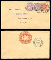 GREAT BRITAIN. 1899. Birmingham / USA.Env.frkd 1/2 D,+1d X2 Ds. - Gran Bretagna