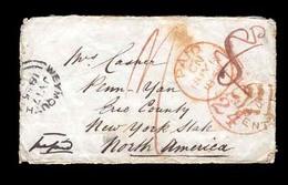 GREAT BRITAIN. 1855. Weymouth /USA. Stampless Prepaid, Transatlantic Env. - ...-1840 Precursori