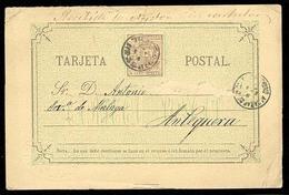 E-PROVINCIAS. 1875. Ciudad Real. Fechador Alcazar De San Juan. Entero Postal. 5cts A Antequera. Bonito. - Spagna
