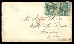 USA. 1871. P. Cancelled Usage To Ireland. 3c. X 2. On Edge. - United States