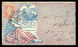 USA. C. 1862 (?). (Feb 14). Washington Dc / Utica - Pa. Patriotic Cover Fkd. 3c. Rose. Fine. - United States