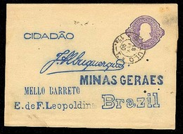BRAZIL. 1890. ( 10 Feb). S. Paulo / Minas Geraes. Preprinted Return. 20d. Violet Stat Wrapper. - Unclassified