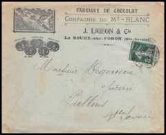 7387 Enveloppe Illustrée Chocolat Mt Blanc Ligeons La Roche-sur-Foron Haute Savoie 1910 Semeuse France Lettre TB Etat - Marcophilie (Lettres)