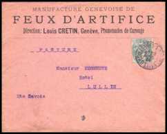 7399 Enveloppe Illustrée Feux D'artifice Cretin Geneve Haute Savoie Lullin 1900 Type Blanc France Lettre (cover) TB Etat - Marcophilie (Lettres)