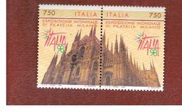 ITALIA - UN. 2240.2241  -    1996 ESPOS. MONDILE DI FILATELIA ITALIA '98 (SERIE COMPLETA DI 2)  -  NUOVI **(MINT) - 6. 1946-.. Repubblica
