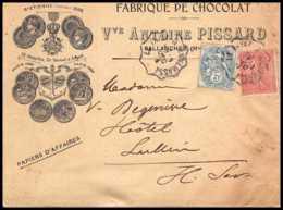 7418 Enveloppe Illustrée Medaille St Etienne 1895 Chocolat Pissard Sallanches Haute Savoie 1904 Semeuse France TB Etat - Marcophilie (Lettres)