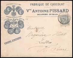 7421 Enveloppe Illustrée Medaille St Etienne 1895 Chocolat Pissard Sallanches Haute Savoie 1906 Tp Blanc France TB Etat - Marcophilie (Lettres)
