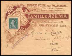 7439 Enveloppe Illustrée Timbres Azema Castres Tarn Pour Lyon Semeuse France Lettre (cover) TB Etat - Marcophilie (Lettres)