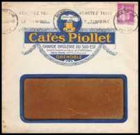 7467 Enveloppe Illustrée Cafe Piollet Grenoble 1933 Krag Paix France Lettre (cover) TB Etat - Poststempel (Briefe)