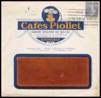 7468 Enveloppe Illustrée Cafe Piollet Grenoble 1933 Krag Psemeuse France Lettre (cover) TB Etat - Poststempel (Briefe)