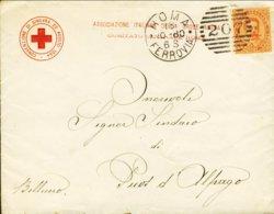 1880-Croce Rossa Associazione Italiana Lettera+testo+ricevuta Affrancata 20c.Umberto I - 1878-00 Humbert I