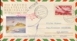 1955- VIII Raduno Filatelico Senigallia Con Erinnofilo Volo Postale Senigallia San Marino Viaggiato E Firma Del Pilota - 6. 1946-.. Repubblica