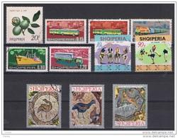ALBANIA:  1972  VARI  -  INSIEME  11  VAL. US.  -  YV/TELL.  1354//1416 - Albanie