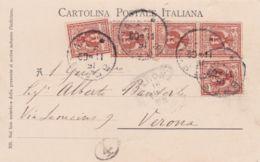 1902-Brescia Cattedrale Affrancata Con Striscia+due Singoli 2c.Aquila Sabauda - 1900-44 Victor Emmanuel III