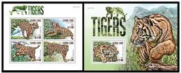 Sierra Leone 2015 Fauna Wild Cats Tigers Set+s/s MNH - Raubkatzen