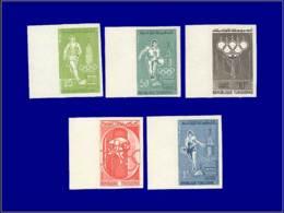 TUNISIE Essais De Couleurs ** - 515/19, Série De 5 Essais De Couleurs Différents: Jeux Olympiques De Rome 1960, Tennis, - Tunesien (1888-1955)