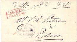 """1845-- Prefilatelica Annullo In Cartella Rosso """"Casal Maggiore"""" - Italie"""