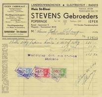 POPERINGE :1944: Factuur Van/Facture De   ##Huis St.-Elooi – STEVENS Gebroeders, Ieperstraat, 5, POPERINGE/ ... - Belgique