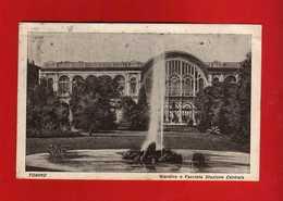 TORINO - GIARDINO E FACCIATA STAZIONE CENTRALE. Viaggiata  1928.   Vedi Descrizione. - Parcs & Jardins