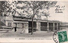 CPA   92   ASNIERES---LA SEINE ET LES DEUX PONTS---1908 - Asnieres Sur Seine