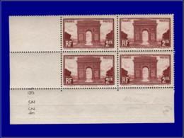 FRANCE Poste ** - 258, Bloc De 4, Cd 16/3/34: 2f. Arc De Triomphe - Cote: 495 - France