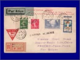 """FRANCE 1° Vols  - 10/12/29, France/Cambodge Par Lassage, Accident De Syrte, Griffe Noire """"Courrier Accidenté"""" Arrivé Roc - Airmail"""