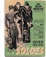 Catalogue Pub Publicité Au Bon Marché Hiver 1934 1935 Soldes Timbre Semeuse 20c Pré Affranchi Postes Déstockage à Saisir - Livres, BD, Revues