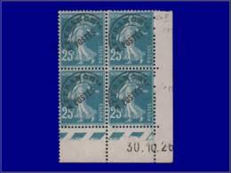 FRANCE Préoblitérés ** - 60, Bloc De 4, Cd 30/10/26: 25c. Bleu Semeuse - Cote: 170 - Préoblitérés