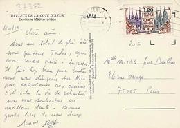 TP N° 2016 Seul Sur Carte Postale De Nice - Marcophilie (Lettres)