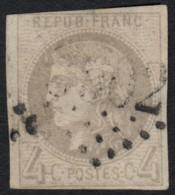 N°41B, Cérès Bordeaux 1870, 4c Gris, Oblitéré - COTE 340 € - 1870 Bordeaux Printing
