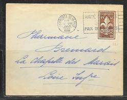 LOT 1902013 - N° 787 SUR LETTRE OBLITEREE JAMBOREE DE LA PAIX DU 12/08/47 POUR LA CHAPELLE DES MARAIS - Postmark Collection (Covers)