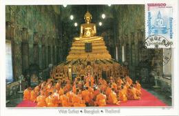 Patrimoine Universel:  Giant Seated Buddha, Sukhothai Temple. Thailand.  Carte-Maximum UNESCO - Bouddhisme