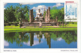 Patrimoine Universel:  Giant Seated Buddha, Sukhothai Temple. Thailand.  Carte-Maximum UNESCO - Monuments