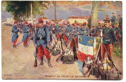 CPA - Carte Postale - Militaria - Pendant La Halte - Le Drapeau  ( M7335) - Régiments