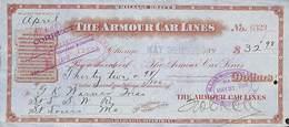 Receipt St Louis Southwestern Railway Company 1898 The Armour Car Lines - Etats-Unis